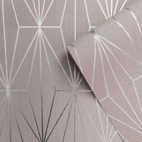 Muriva Kayla Luxury Geometric Blush & Silver 703012 Wallpaper